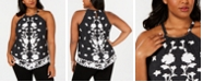 INC International Concepts INC Plus Size Floral-Print Denim Halter Top, Created for Macy's